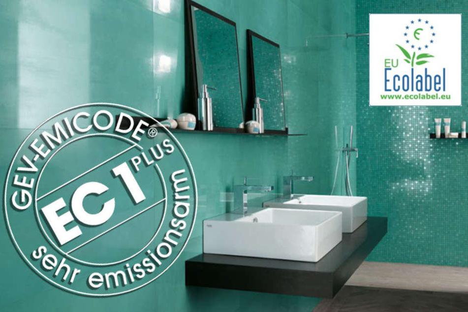 Diese Prüfsiegel versichern eine umweltgerechte Herstellung der Fliesen und Verlegematerialien.