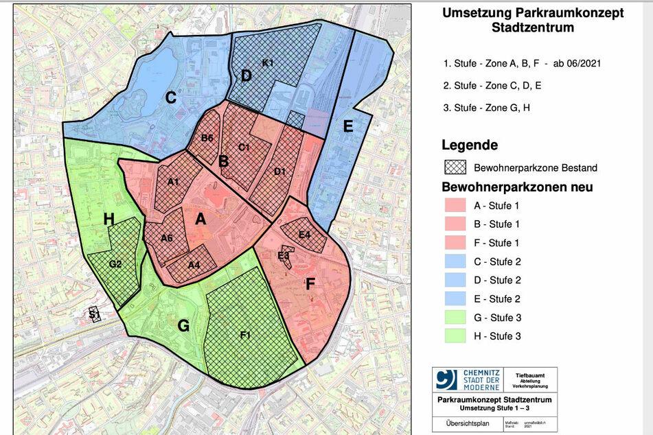 Das Parkplatzkonzept in der Innenstadt: Ab Dienstag treten die Zonen A, B und F in Kraft.