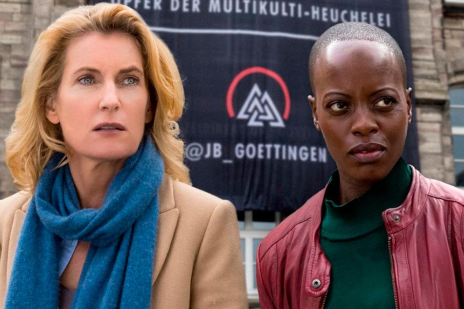 """Die Kommissarinnen Lindholm (Maria Furtwängler, 53) und Schmitz (Florence Kasumba, 43) gehen in """"National feminin"""" dem Mord an einer rechten Bloggerin auf den Grund."""