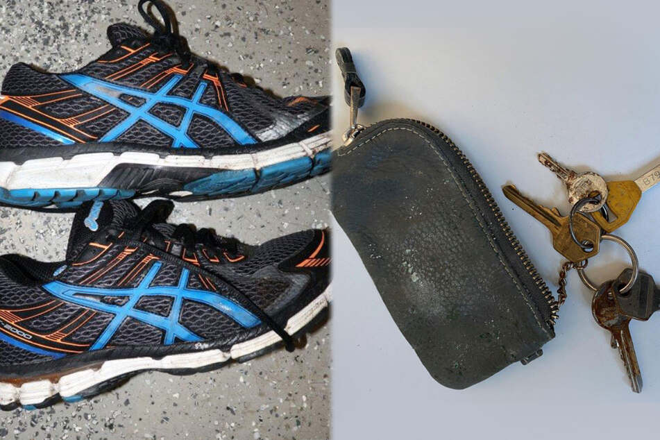 Die Montage zeigt links ein Paar auffälliger Schuhe, rechts eine Schlüsseltasche mit fünf Schlüsseln. Die Gegenstände wurden bei der toten Frau gefunden.
