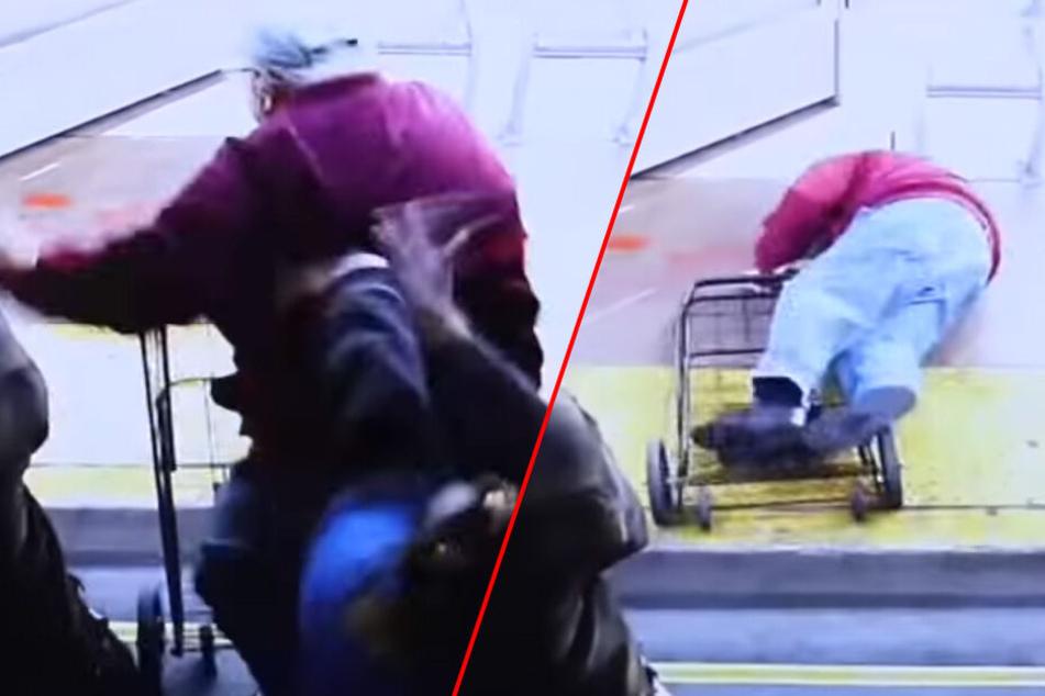 Schockierend: Die Screenshots zeigen den Moment, in dem der Rentner aus dem Bus gestoßen wird.