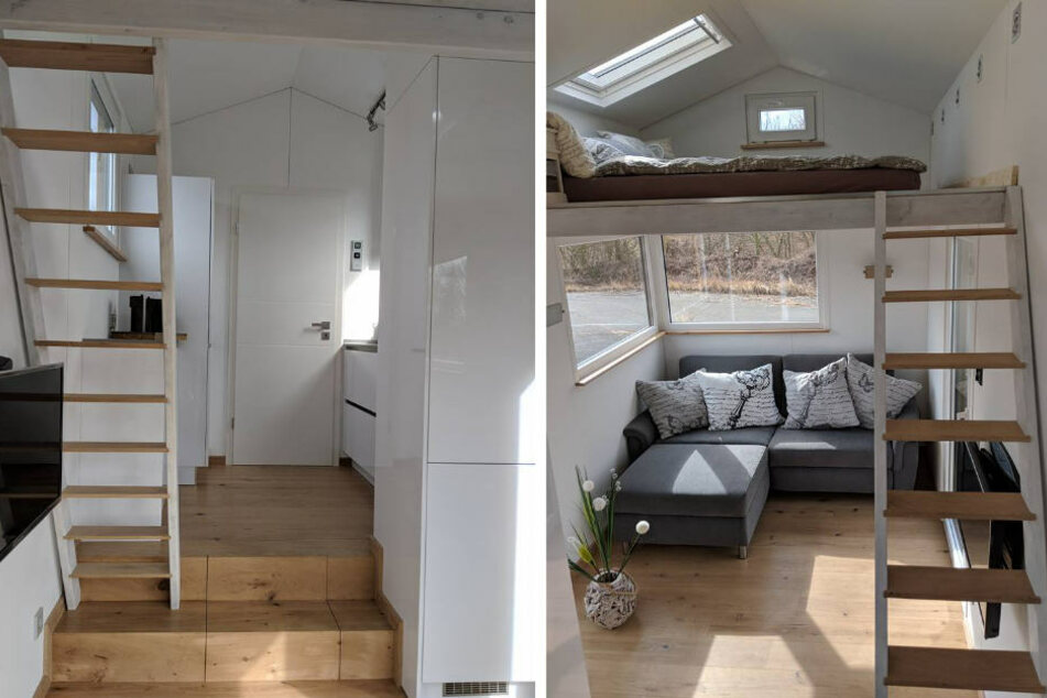 """Die """"Tiny Houses"""" bieten zwei Etagen. Im unteren Bereich befinden sich Wohnzimmer, Bad und Küche."""
