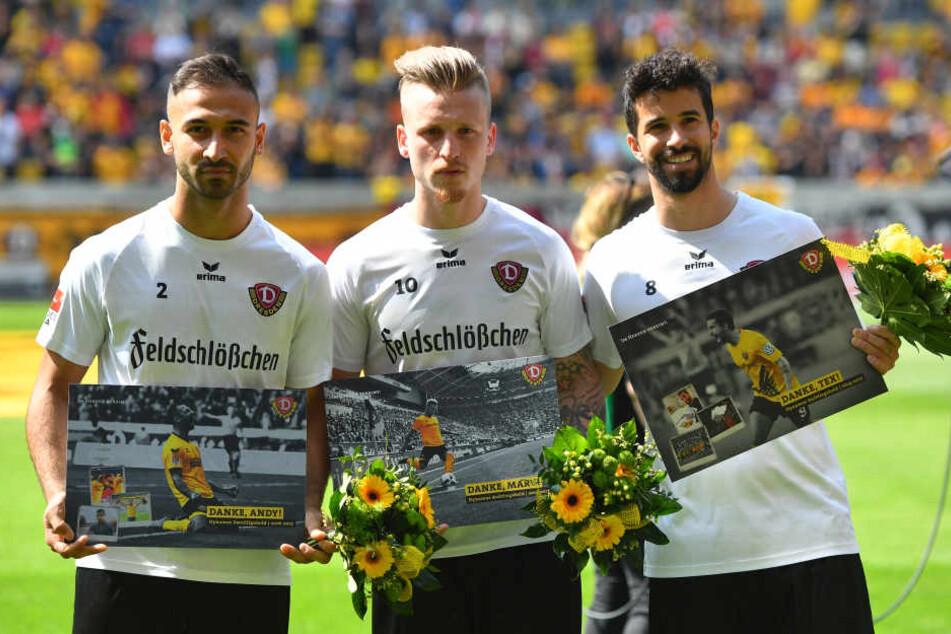 Wurden vor dem Spiel verabschiedet: Akaki Gogia, Marvin Stefaniak und Nils Teixeira (v.l.)
