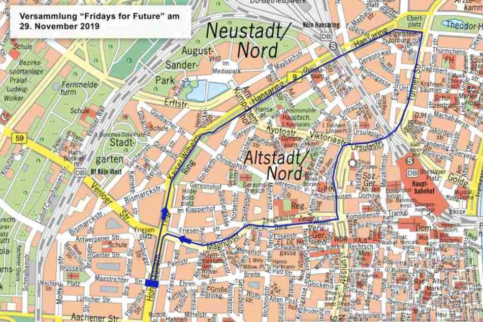 Auf dieser Karte ist die Wegstrecke der geplanten Demo von Fridays for future am Freitag in Köln zu sehen.