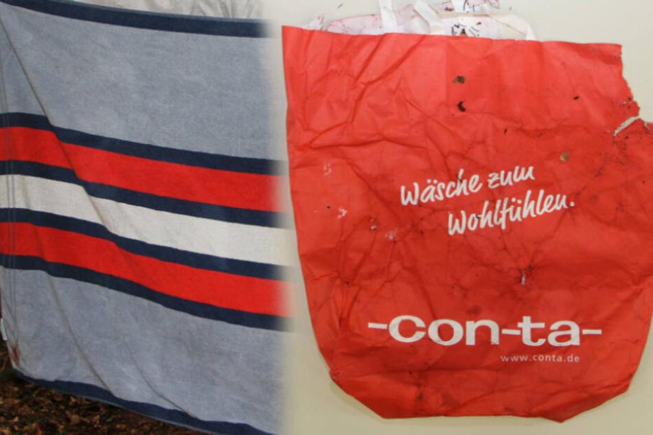 In diesem Handtuch und in dieser Plastiktüte war Joris in einem Waldstück gefunden worden.
