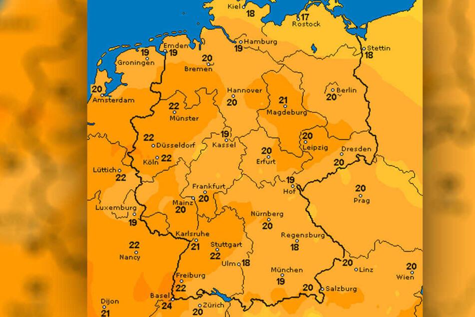 Am Sonntag (15.10) sollen die Temperaturen vielerorts über 20 Grad klettern.