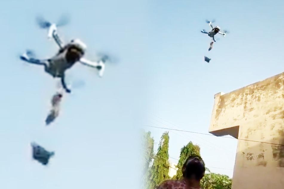 Mit einer Drohne erhielt dieser Mann eine Lieferung an Munderfrischer.