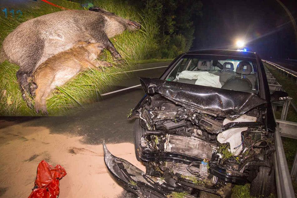 Heftiger Wildunfall auf A4: Zwei Schwerverletzte, sechs Wildschweine sterben