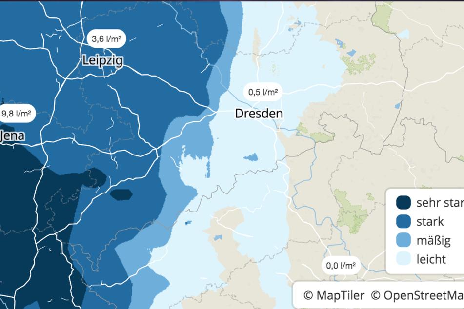Ab Dienstagnachmittag ziehen Gewitter über Sachsen hinweg, dann kann es auch zu Starkregenfällen kommen, wie deutlich auf der Niederschlagskarte zu sehen ist.