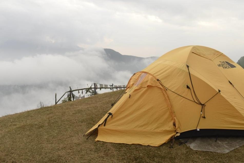Der Blitz schlug in einen Baum nahe des Zeltes ein.
