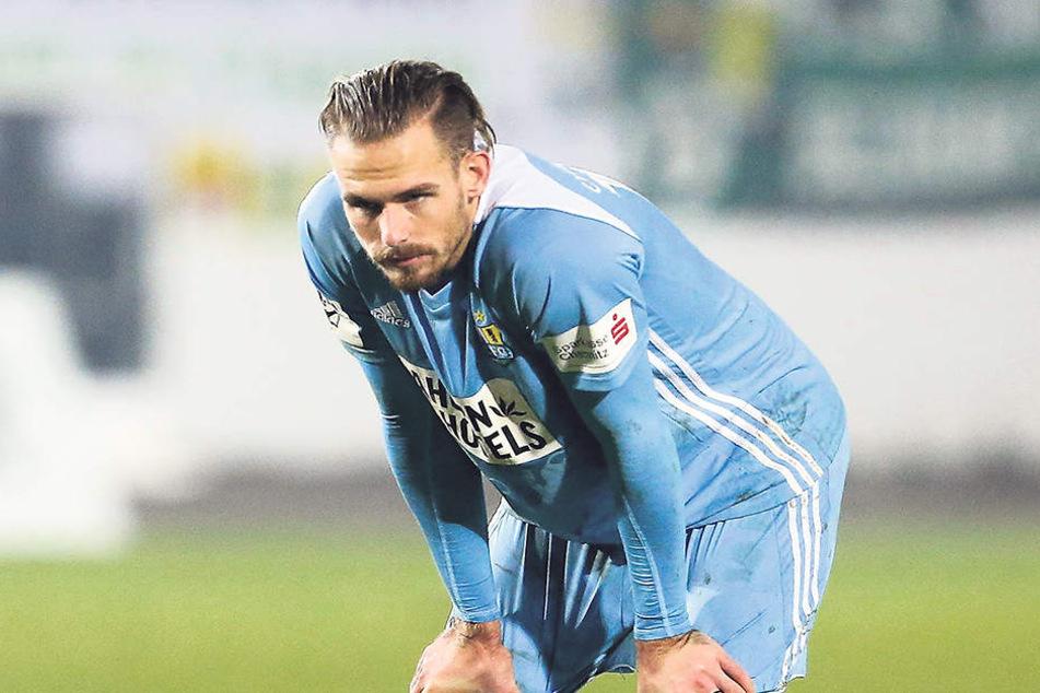 Nach dem 0:1 in Münster musste auch der enttäuschte Maurice Trapp tief durchatmen.