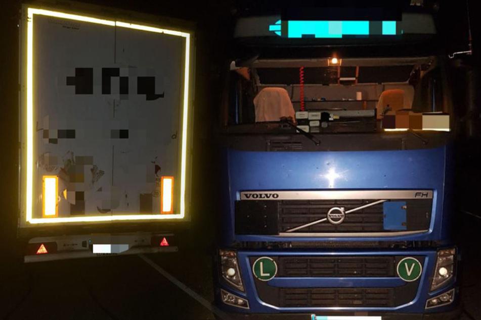 Diesen Laster beschlagnahmte die Bundespolizei in der Nacht in Dresden.