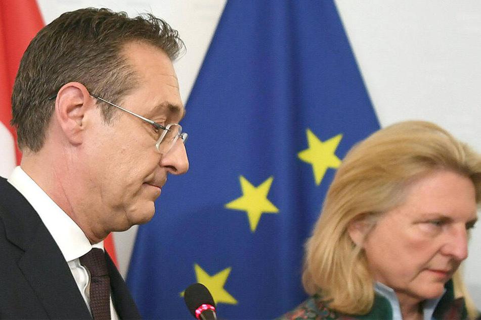Der zurückgetretene Heinz-Christian Strache und Außenministerin Karin Kneissl.