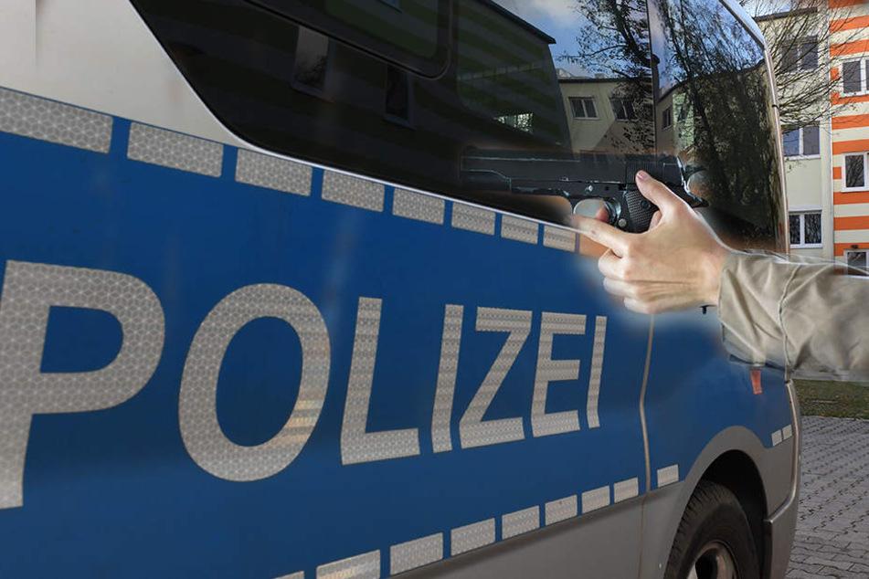 Mit einer Waffe zielte eine 40-Jährige in Dresden-Omsewitz auf Passanten und Autos. (Bildmontage).