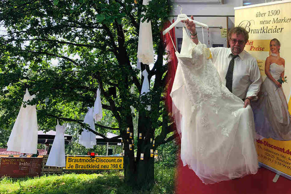 Brautmodenhändler Rainer Capitain (57) ärgert sich maßlos über den Kleiderklau. Zum Stauseefest hingen noch alle 14 Kleider im Baum.