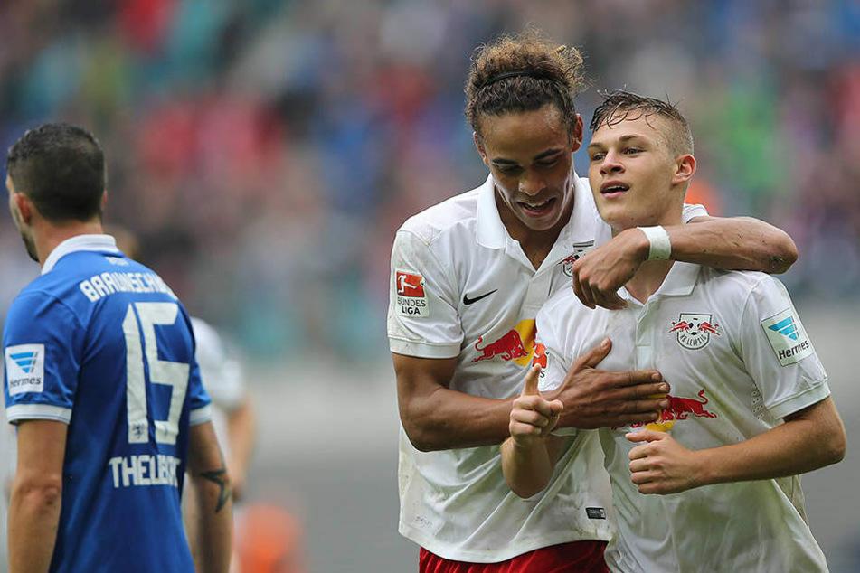 Beim Spiel der Leipziger gegen Braunschweig im September 2014 jubelten Poulsen und Kimmich noch zusammen.