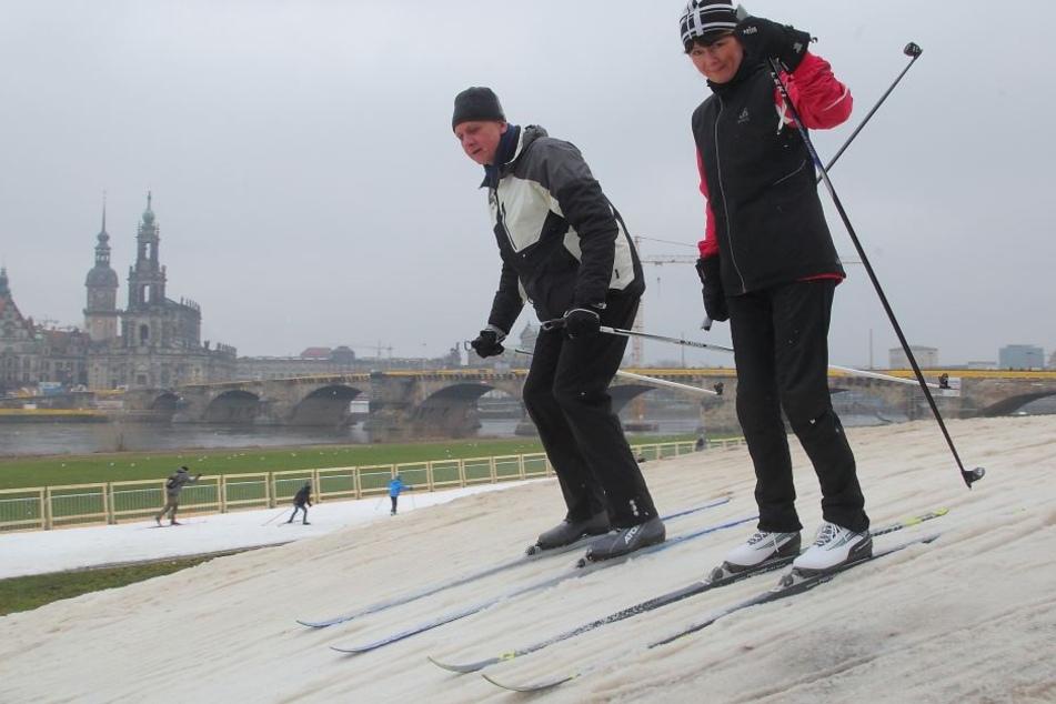 Hier testen Hobby-Sportler die Weltcup-Strecke an der Elbe