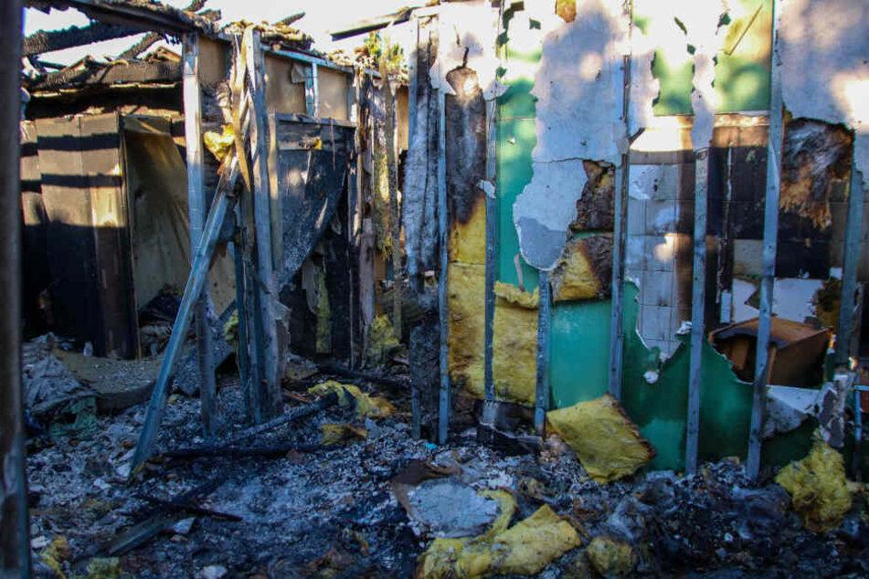 In Trümmern: Das Haus der Familie in Lindow wurde komplett zerstört.