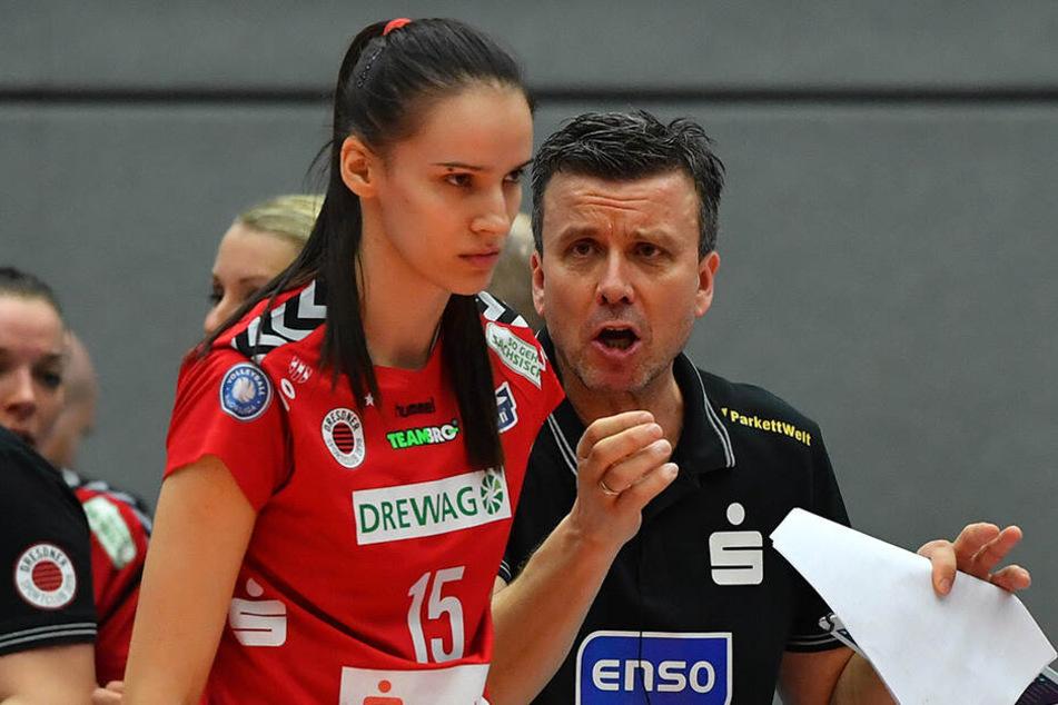 DSC-Coach Alex Waibl war nicht nur stolz auf seine punktbeste Spielerin Ivana Mrdak am gestrigen Abend.