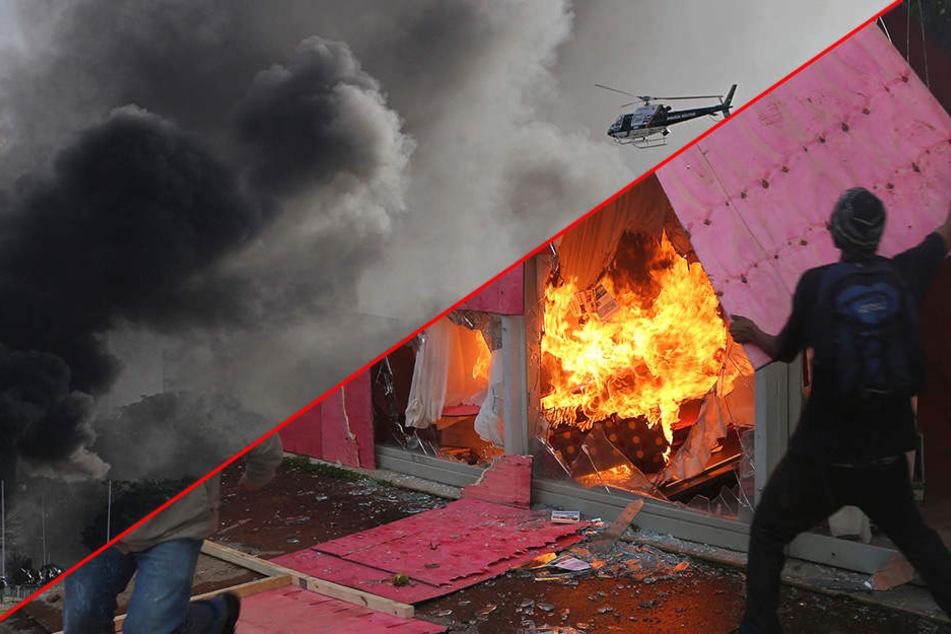Tumulte: Demonstranten zünden Ministerium an