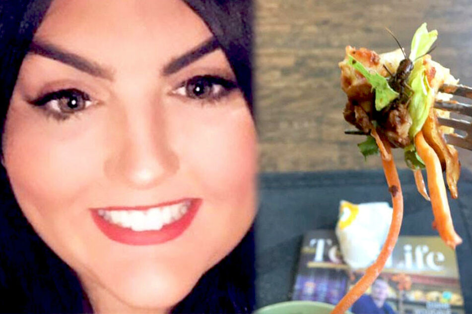 Kirsty Reidy verging beim Essen der Appetit, als sie einen Teil der Heuschrecke mit vernaschte.