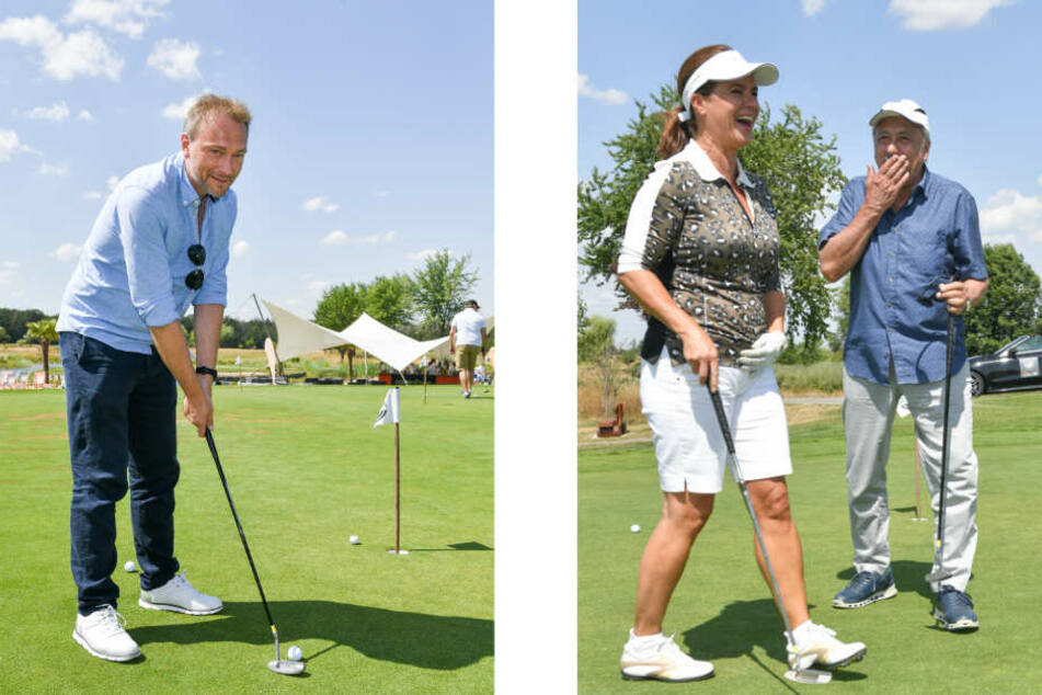 Linkes Bild: FDP-Chef Christian Lindner (40) beim Einlochen. Rechtes Bild: Ex-Eiskunstläuferin Katarina Witt und Schauspieler Wolfgang Stumph haben sichtlich Spaß auf dem Golfplatz.