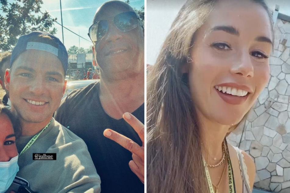 In Thrombose-Strümpfen: Sarah Engels trifft Vin Diesel bei der Formel 1!