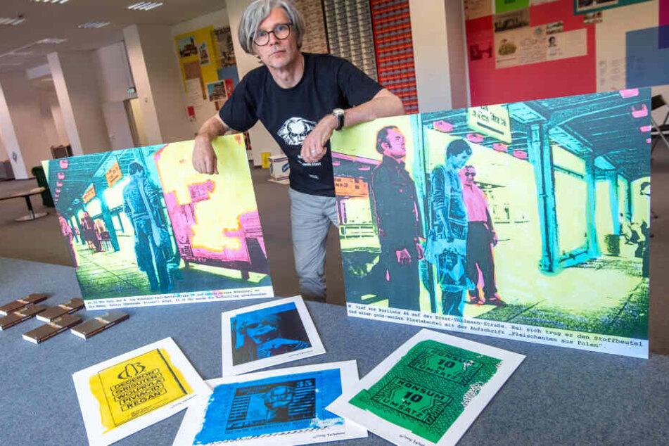 """Joerg Waehner (56) aus Berlin zeigt im neuen """"Open Space"""" in der Brückenstraße seine Ausstellung """"I was born in Karl-Marx-Stadt""""."""