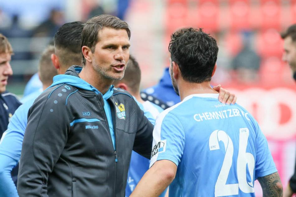 CFC-Coach Patrick Glöckner (l.) schätzt die Erfahrung und Cleverness seines Routiniers Philipp Hosiner.