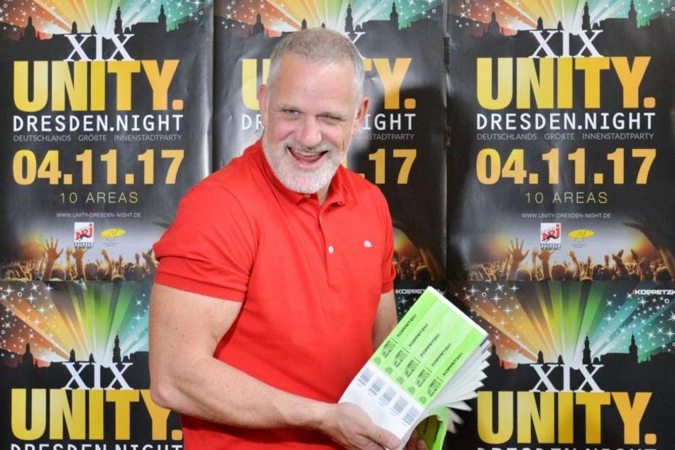 Ralf Koppetzki (42) hat gut lachen - seine Unity-Night findet schon zum 19.  Mal im Herzen von Dresden statt.