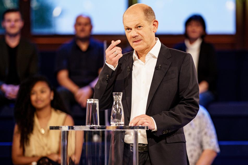 Olaf Scholz (63, SPD) am Dienstagabend in der ARD-Wahlarena zur Bundestagswahl in der Kulturwerft Gollan.