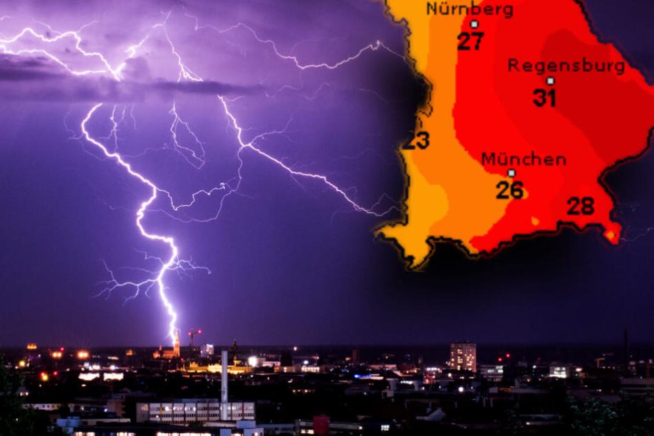 Im Süden Bayerns werden werden ab Sonntagnachmittag schwere Gewitter erwartet. (Bildmontage)
