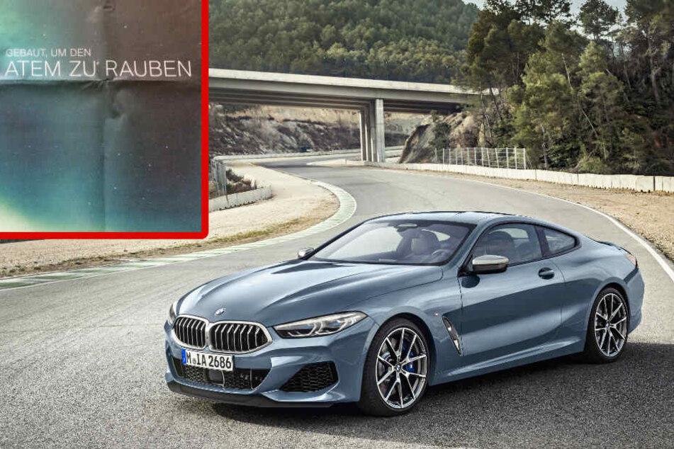 Die Anzeige für den neuen BMW 8er sorgte für einen Shitstorm. (Bildmontage)