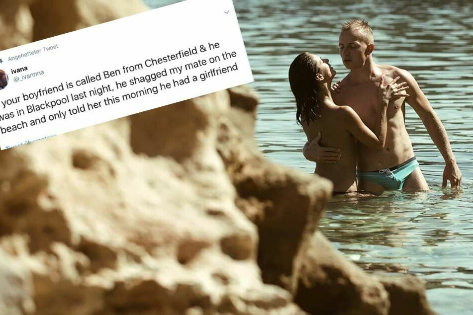 Typ hat Sex am Strand, und bekommt die Quittung in aller Öffentlichkeit