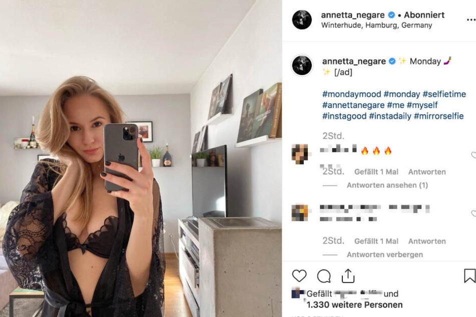 Annetta Negare erfreut ihre Fans auf Instagram mit einem sexy Selfie.