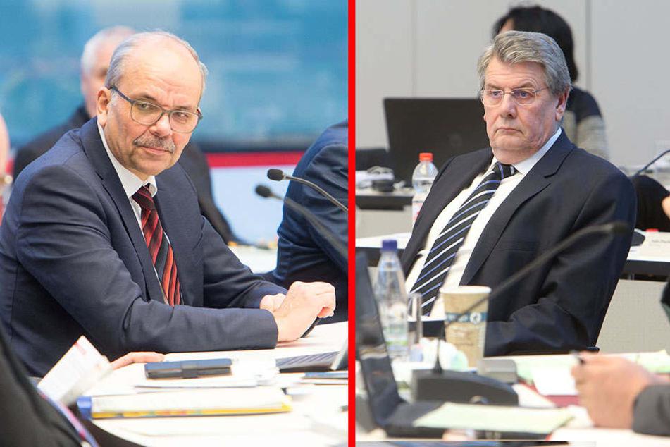 CDU-Stadtrat Michael Luther (l., 61) fordert eine Strategie zur raschen Sanierung des Wasserrohrnetzes. Tristan Drechsel (r., 61, BfZ) befürchtet ein Ansteigen der Wasserpreise.Da gab es aber Entwarnung.