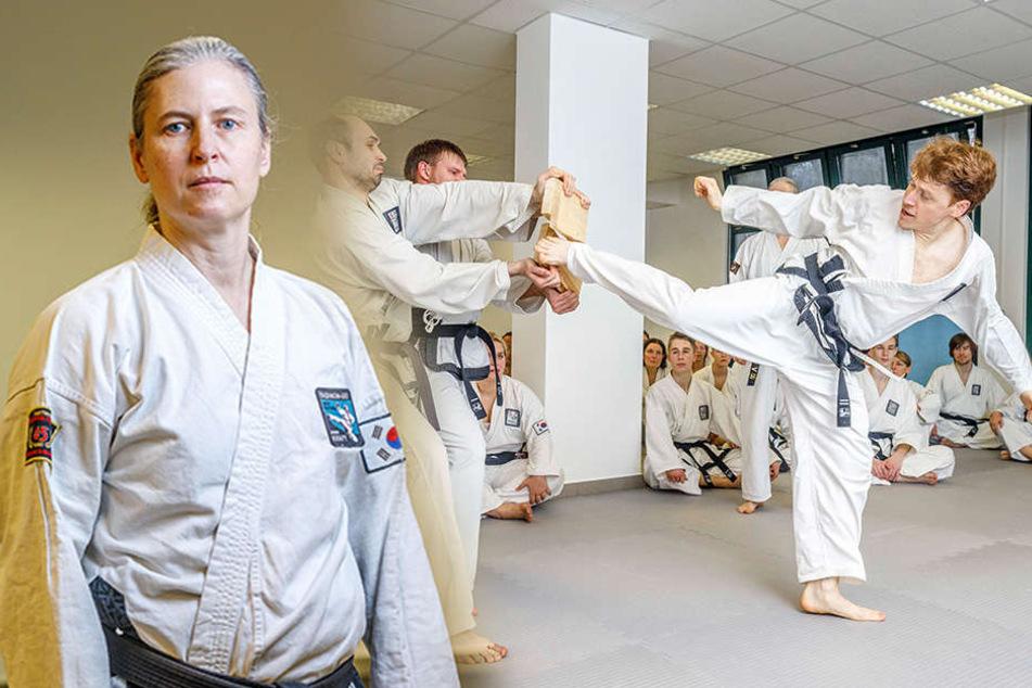 """Großmeisterin Sigrid Kraft (47, li.) hat ihren mittlerweile neunten Band der Fantasy-Reihe """"Ardeen"""" geschrieben. In Plauen wurde die zweite Taikwon-Do-Trainingsstätte für die Schüler von Sigrid Kraft eröffnet."""