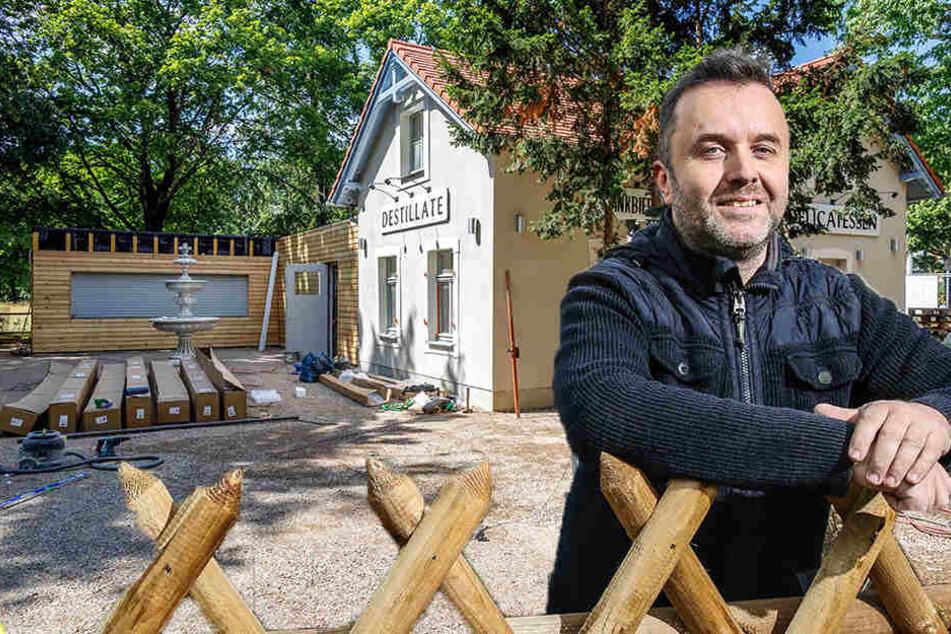 """Von außen ist's schon schick: Ralph Krause (47) will im Juli mit seinem Bruder die """"Sommerwirtschaft Drachenwiese"""" eröffnen."""