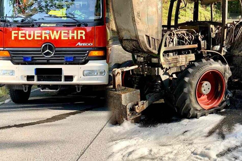 Mit 900L Diesel beladener Traktor fängt Feuer und brennt ab