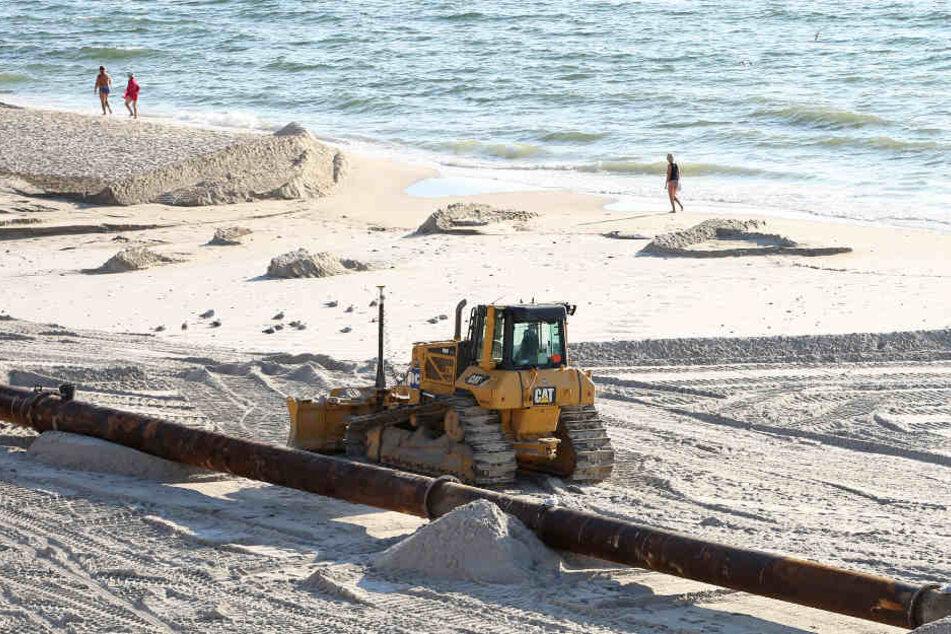 Der Strand in Kampen wird derzeit aufgespült.