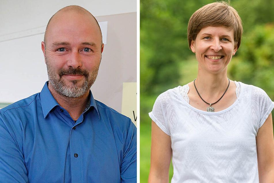 Nico Köhler (43, AfD, F.l.) hat nun einen Mitbewerber um das Amt des Oberbürgermeisters. Susann Mäder (35, Grüne, F.r.) hätte sich Gespräche mit Schulze über seine Kandidatur gewünscht.