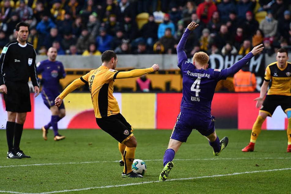 Rico Benatelli schoss im Dezember beim 4:0 der Dresdner gegen Aue den Treffer zum 2:0 vor der Pause. Das war damals die Vorentscheidung.