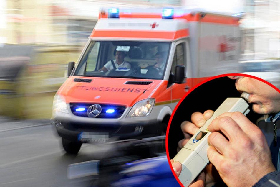Der Mann (51) wurde bei dem Unfall verletzt und musste ins Krankenhaus gebracht werden. bei ihm wurden 1,2 Promille festgestellt. (Symbolbild)