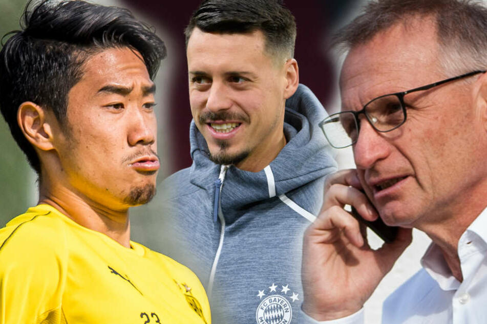 Bei diesen Stars hatte VfB-Sportvorstand Michael Reschke (r.) keine Chance: BVB-Mittelfeldspieler Shinji Kagawa (l.) und FC-Bayern-Back-Up-Stürmer Sandro Wagner. (Fotomontage)