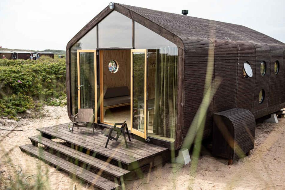 So sehen die Papphäuser auf Helgoland von außen aus.