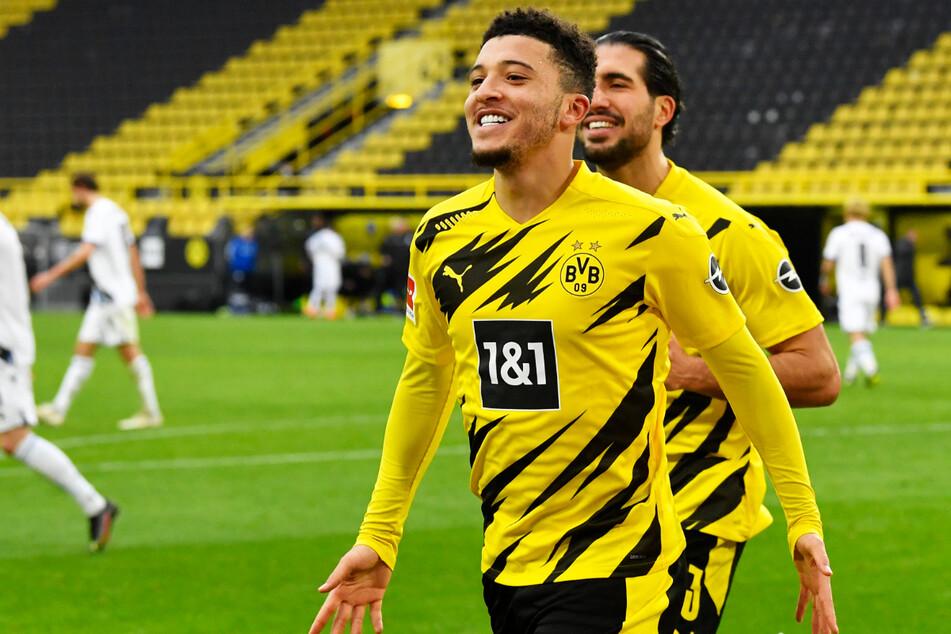 Jadon Sancho (21) durfte für den BVB 50-mal ein eigenes Tor bejubeln. Bei Manchester United erhofft man sich eine ähnliche Quote - sofern der Transfer über die Bühne geht.