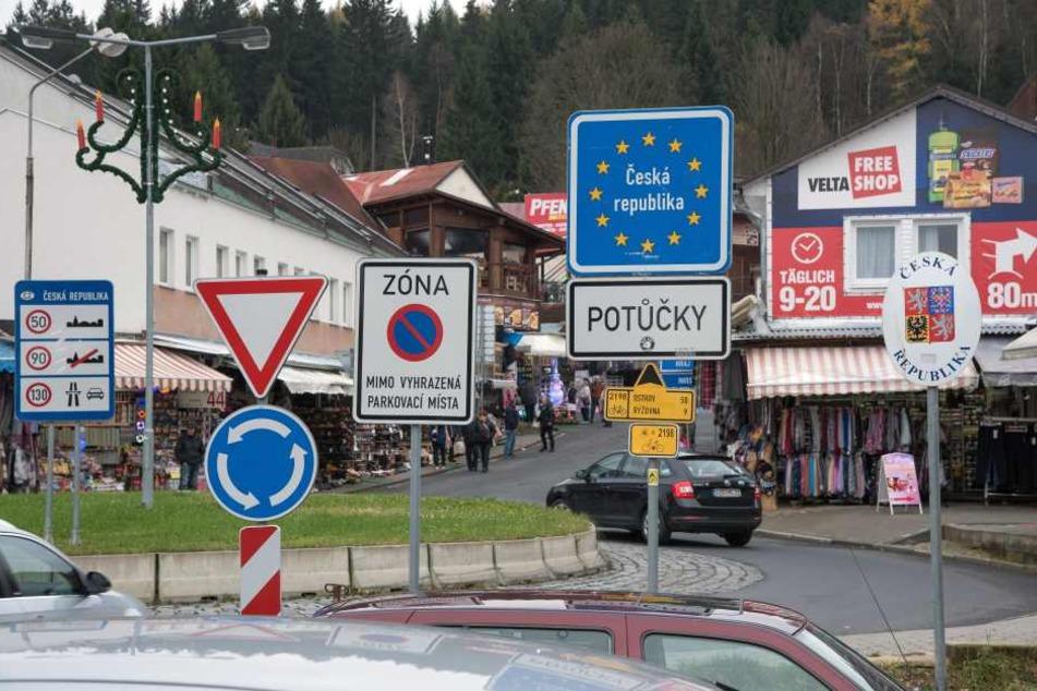 Blick zum Grenzübergang in Johanngeorgenstadt.