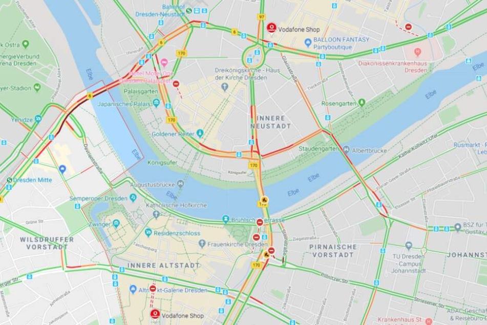 Wie man sieht: viele Straßen in Dresden sind bereits dicht.