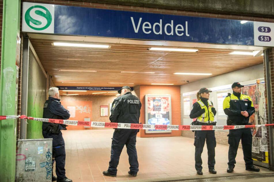 Polizisten sperren nach der Explosion einen Bahnsteig zum S-Bahnhof Veddel ab.
