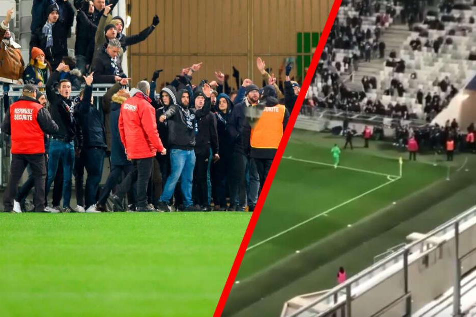 Ultras stürmen Platz, Spiel muss unterbrochen werden